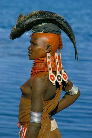 Turkana Woman with Beaded Collar, Kenya by Carol Beckwith and Angela Fisher