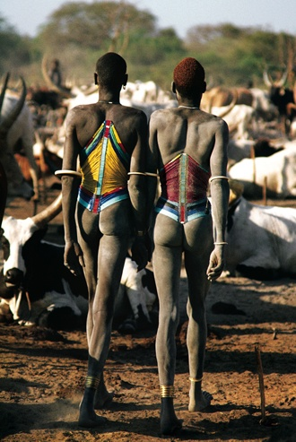 Dinka Men in Beaded Corsets, South Sudan by Carol Beckwith and Angela Fisher