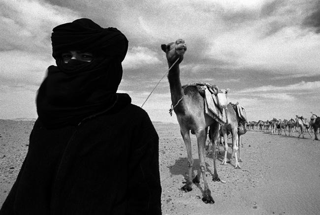 Camel herder and caravan by Chris Rainier
