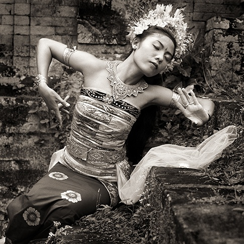 Traditional Dancer with Crown, Bali, 1988 by Dana Gluckstein