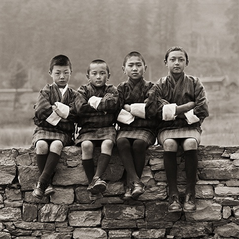 School Boys, Bhutan, 2010 by Dana Gluckstein