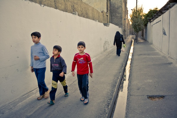 Three boys and a woman, Tehran by James Longley