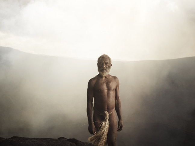Kastom Man on Outer Rim of Mount Yasur by Joey L.