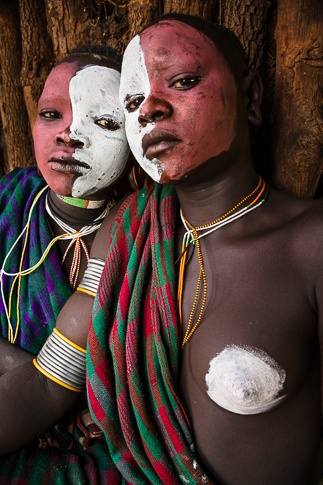 Red and White Painted Faces, Suri Tribe by John Rowe