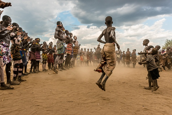 Dancing, Kara Tribe by John Rowe