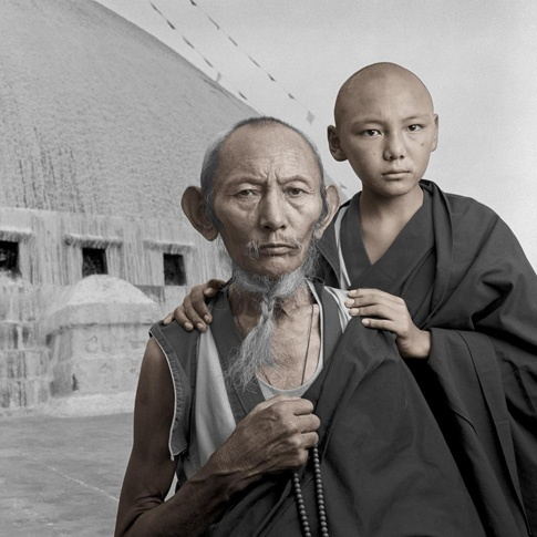 Lobsang 67 & Tensin 13 by Phil Borges