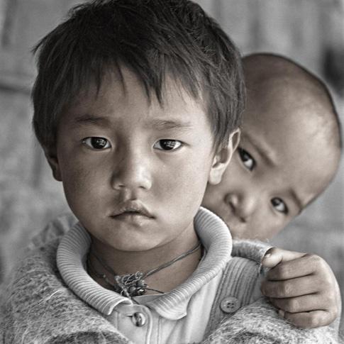 Dolkar 5 & Tashi 6, Dharamsala, India by Phil Borges