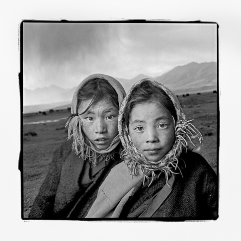 Dechi 8 & Tsering 8, Damxung, Tibet by Phil Borges
