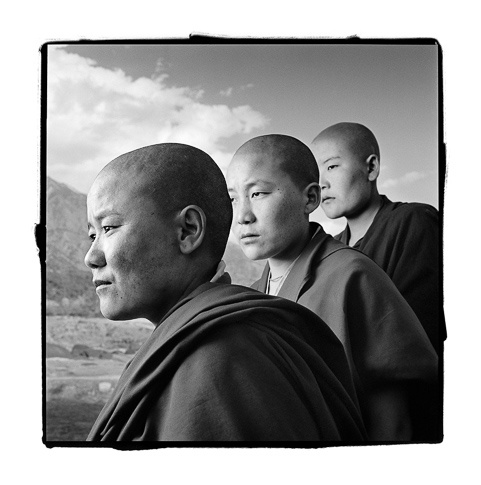 Kalsang 25, Ngawang 22 & Dechen 21, Dolma Ling Nunnery, India by Phil Borges