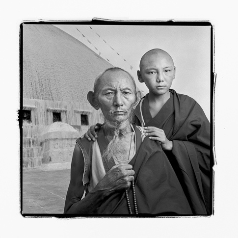 Lobsang 67 & Tensin 13, Bodhnath, Nepal by Phil Borges