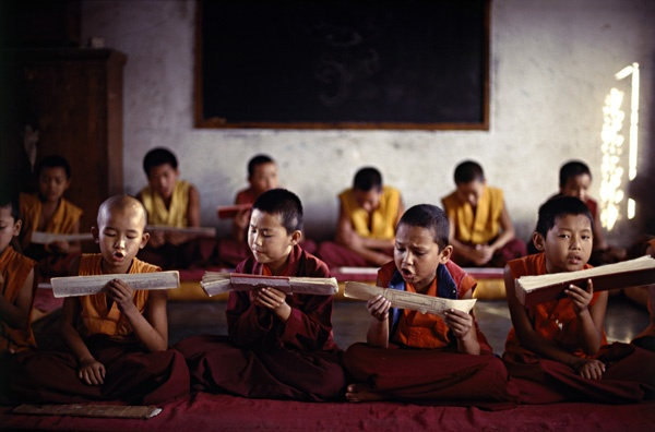 Young Monks Chanting Scripture by Thomas L. Kelly