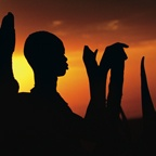 Silhouette of Dinka Man with Horns, South Sudan