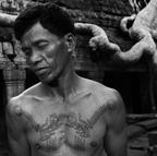 Man with traditional Khmer tattoos