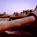 "Iraqi tanks near the ""Highway of Death"""