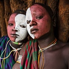 Red and White Painted Faces, Suri Tribe