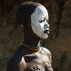 Portrait of a Suri Girl with Traditional Scarification