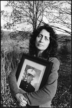Sara Duvall with a Photograph of Her Son, Aaron Reed, Killed in Iraq