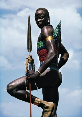 Dinka Warrior with Spear, South Sudan by Carol Beckwith and Angela Fisher