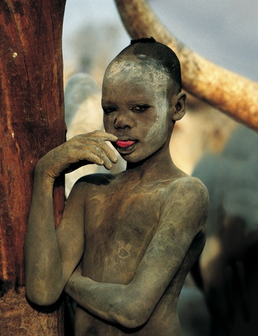 Dinka Boy Touching Tongue, South Sudan by Carol Beckwith and Angela Fisher