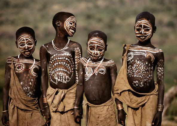 Surma children with body paint, Ethiopia by Carol Beckwith and Angela Fisher
