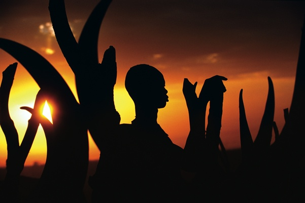 Silhouette of Dinka Man with Horns, South Sudan by Carol Beckwith and Angela Fisher