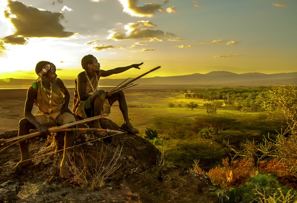 Hadza Hunters at Sunset, Tanzania by Carol Beckwith and Angela Fisher