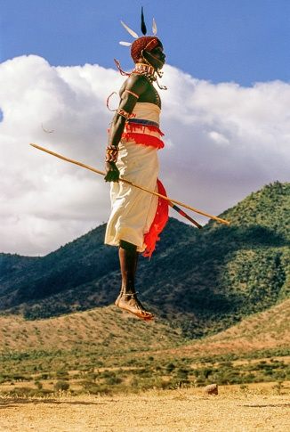 Samburu Warrior Dancing, Kenya. by Carol Beckwith and Angela Fisher