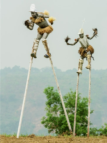"Pende ""Tall men walking"" Stilt Dancers, Gungu, D.R. Congo by Carol Beckwith and Angela Fisher"