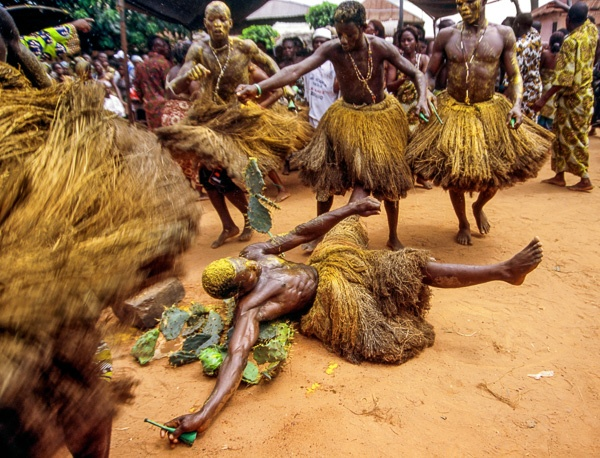 Devotees to Koku Rolling on Cactus, Ouidah, Benin by Carol Beckwith and Angela Fisher