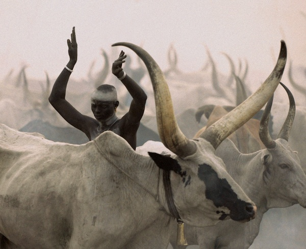 Dinka Man Imitating Horns, South Sudan by Carol Beckwith and Angela Fisher