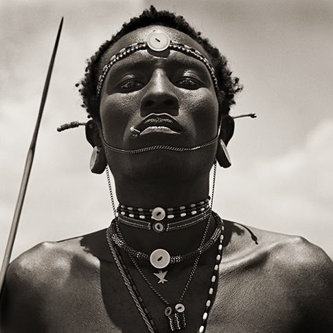 Masai Warrior Initiate with Spear, Kenya, 1985 by Dana Gluckstein