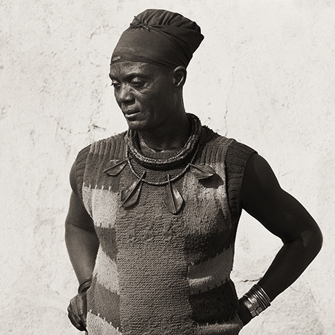 Himba Headman with Cow Ear Necklace, Kaokoland, Namibia, 2007 by Dana Gluckstein