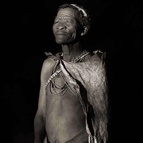 San Traditional Elder at Sunrise, Xai Xai, Botswana, 2009 by Dana Gluckstein