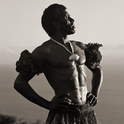 Traditional Dancer at Chief's Cliff, Wakaya, Fiji, 2008 by Dana Gluckstein