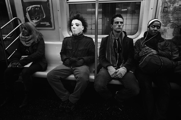 Unknown Subway Passengers on Halloween by Joey L.