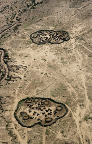 Aerial View of a Temporary Nyangatom Village by John Rowe