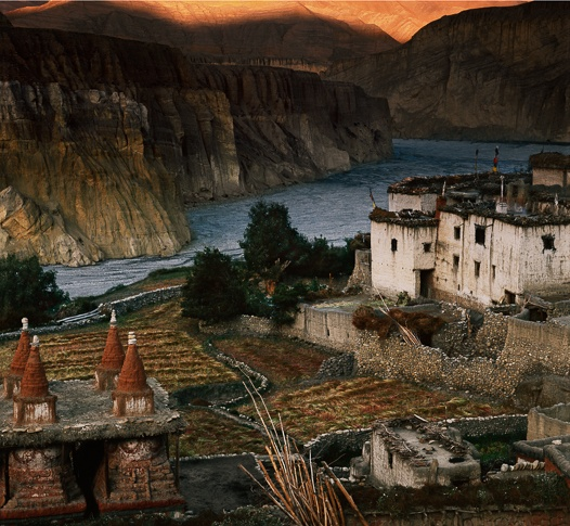 Chortens, House, Mountains and Tangye Khola by Kenneth Parker