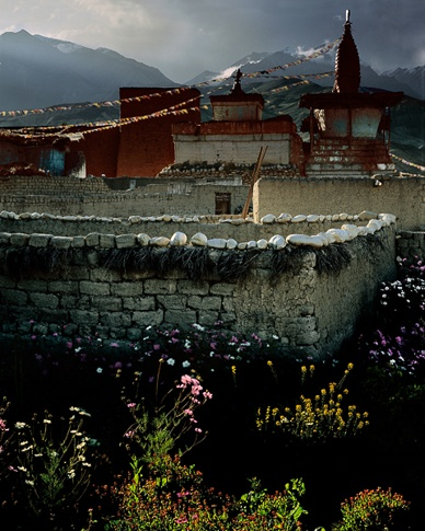 Walls, Flowers, Mountains, Champa Temple, Lo Monthang; Mustang, Tibetan Plateau by Kenneth Parker