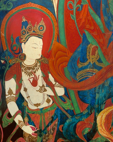 Attendant of a Bodhisattva (detail),  Thupchen Gonpa, Lo Montang by Kenneth Parker