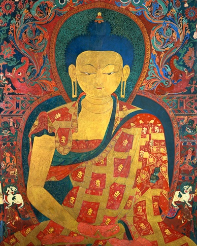Golden Buddha Amitabha (detail), Thupchen Gonpa, Lo Montang by Kenneth Parker