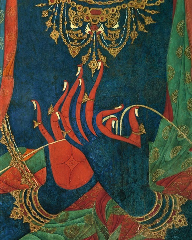 Hands of a Blue Bodhisattva  in Teaching Mudra (detail), Thupchen Gonpa, Lo Montang by Kenneth Parker