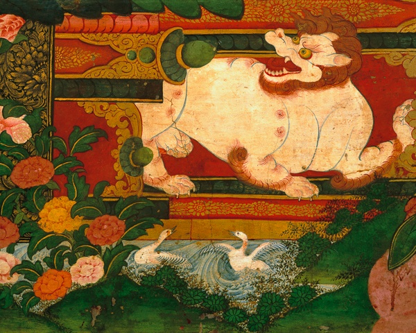 Snow Lion Raising Throne with Swans (detail), Tsarang Gonpa, Tsarang by Kenneth Parker