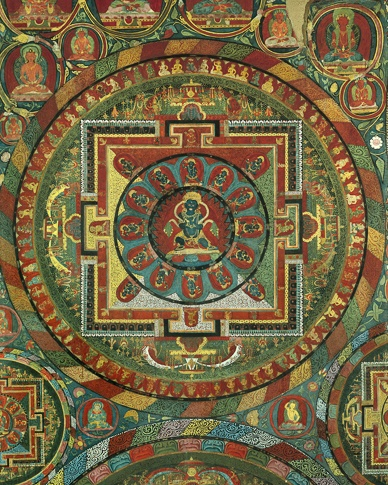 Possibly Dorje Hum Dzad Mandala  (detail), Jampa Lhakhang, Lo Montang by Kenneth Parker