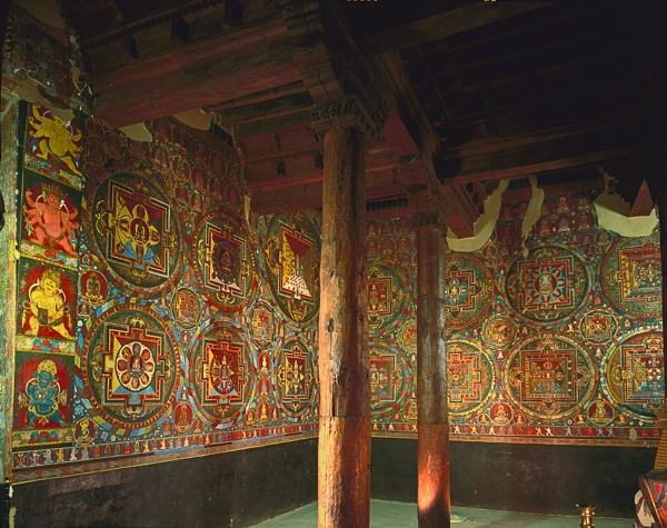 Two Walls, Ceiling and Support Pillars, Jampa Lhakhang, Lo Montang by Kenneth Parker
