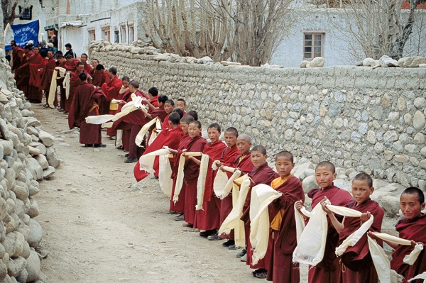 Child Monks, Kata Welcoming Line, Lo Montang by Kenneth Parker