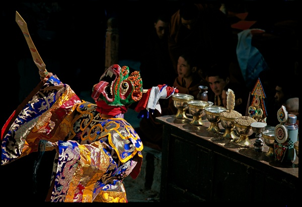 Demon Dancer and Butter Lamps, Tiji Festival, Lo Montang by Kenneth Parker