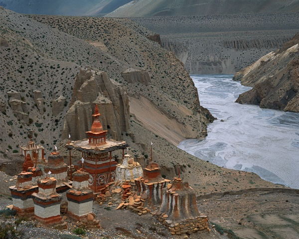 Chortens over Kali Gandaki River Gorge, Tangbe by Kenneth Parker
