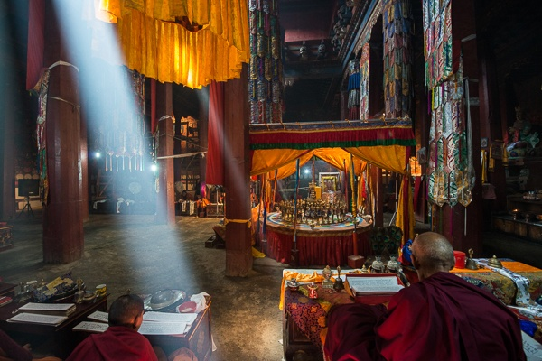 Monks Performing Sand Mandala Ceremony, Thupchen Temple by Luigi Fieni
