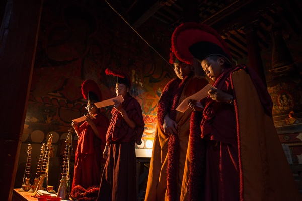 Monks Reciting Prayers Around the Sand Mandala, Thupchen by Luigi Fieni