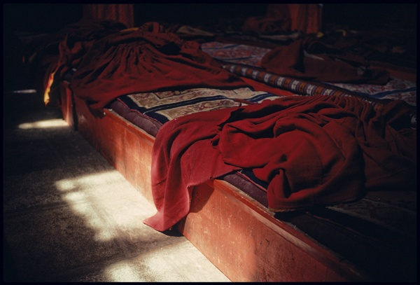 Monk's Robes on a Prayer Bench by Marissa Roth